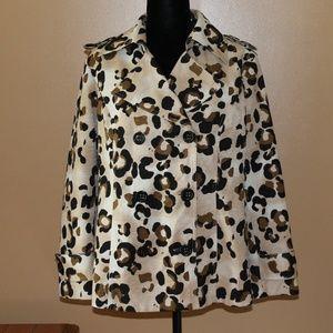 Short Leopard Print Trench Coat